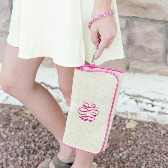 Soft Burlap Canvas Personalized Clutch - VioletFox