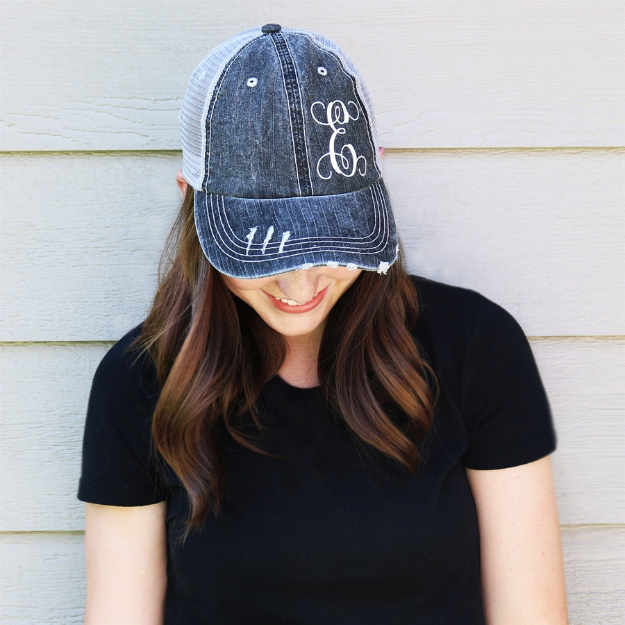 Distressed Monogram Trucker Hats - Krafty Chix New