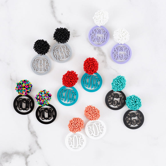 Beaded & Acrylic Monogram Earrings