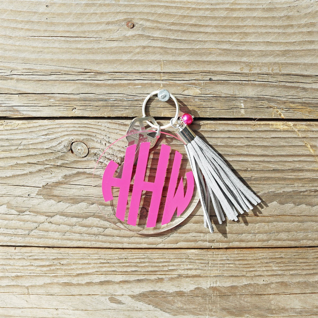 Acrylic Monogram Tassel Key Chains - Krafty Chix New
