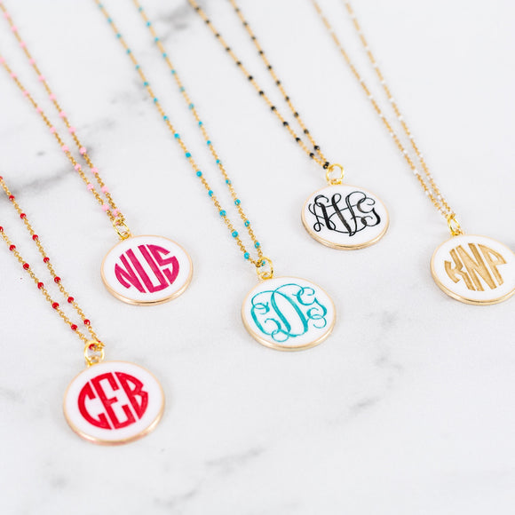 Monogram Color Filled Necklace