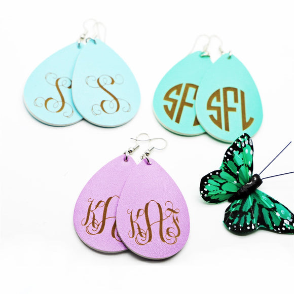 Monogram Leather Earrings | 2 Fonts - Krafty Chix
