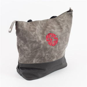 Monogram Suede & Faux Leather Large Totes