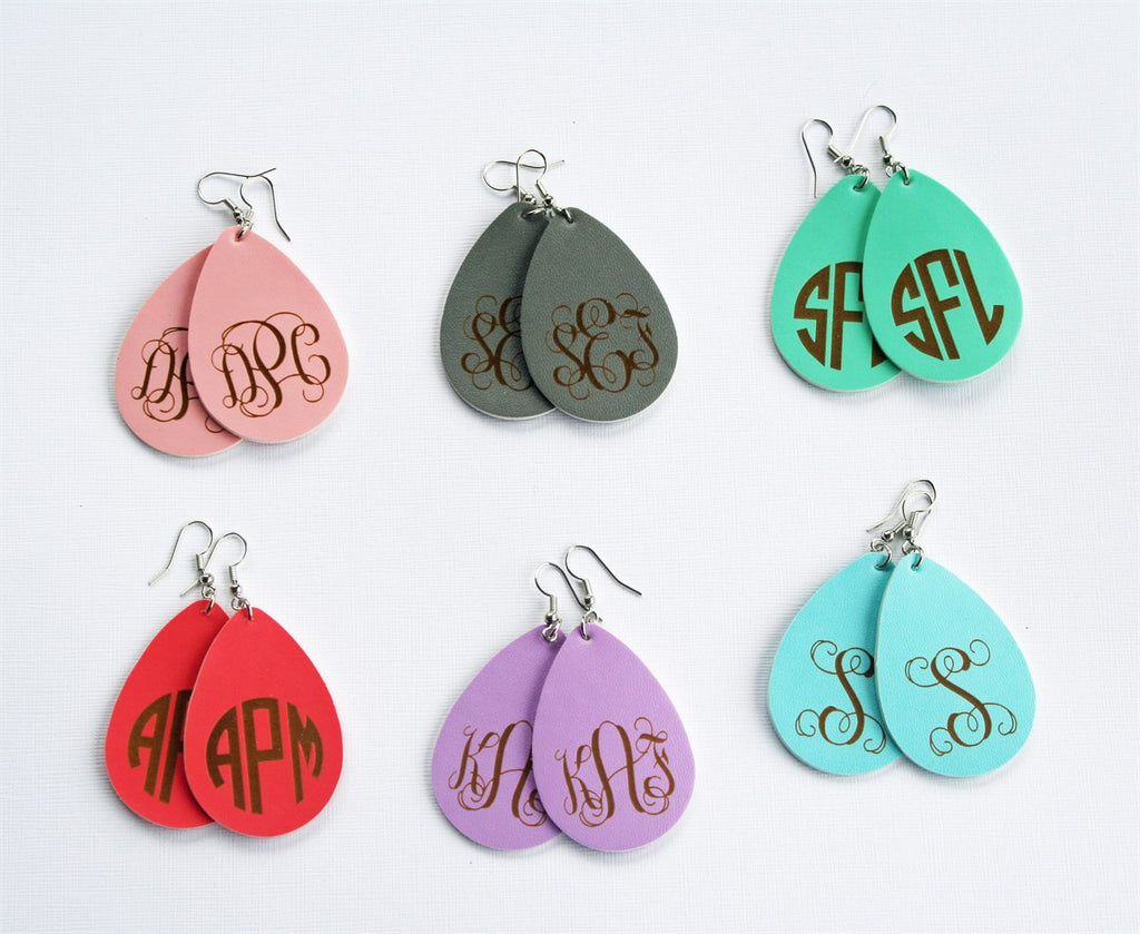 Monogram Leather Earrings | 2 Fonts - Krafty Chix New
