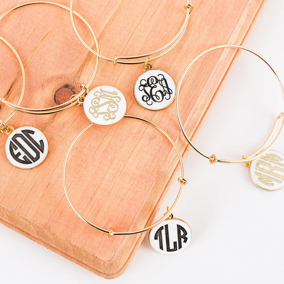 Monogram Bangles - Gold or Black Fill