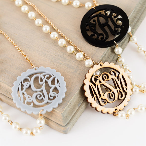 Monogram Long Gold and Pearl Necklace