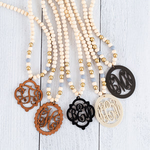 Long Beaded Monogram Necklaces