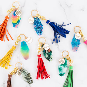 Hotel Motel Fun Print Keychains with Tassels - Personalized