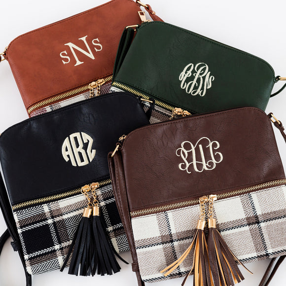 Plaid Monogram Tassel Cross-Body
