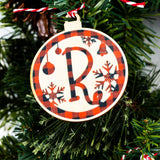 Personalized Wooden Plaid Design Ornament