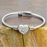 Heart Initial Cable Bangle