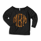 Animal Print Monogram Scoop Neck Sweatshirts