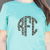 Serape-Cheetah-Boho Patterned Monogram Tees