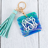 3D Patterned Monogram Keychain