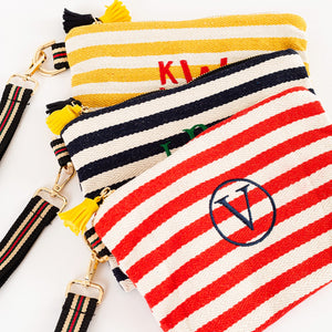 Monogram Striped Canvas Clutches | 2 Sizes - Clearance