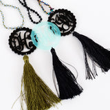 Monogram Hand Knotted Tassel Necklaces