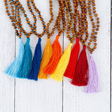 Wood Bead & String Tassel Necklace