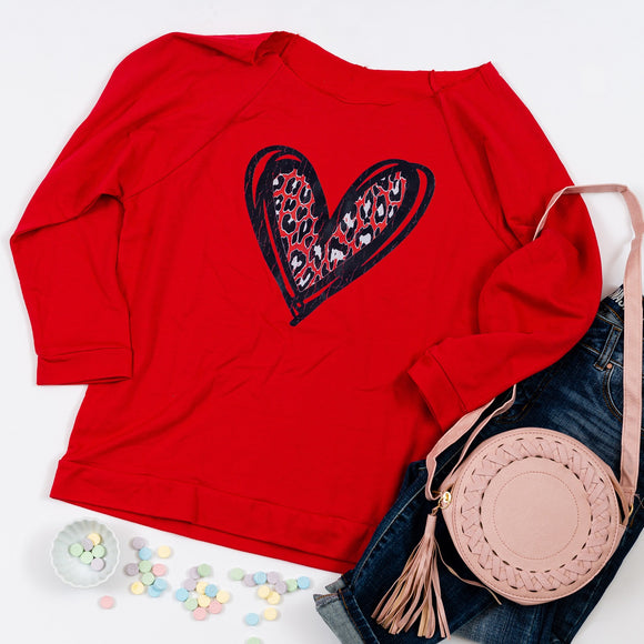 Heart Graphic Scoop Neck Sweatshirt