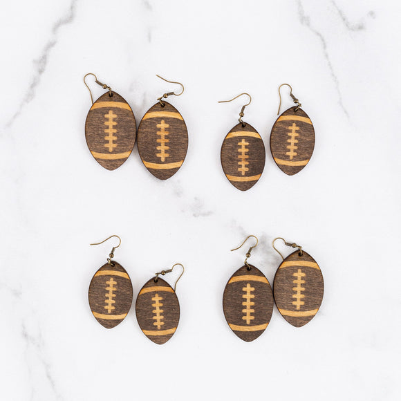 Wood Handmade Football Earrings