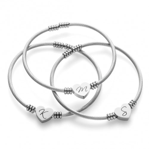 Heart Initial Cable Bangle - Clearance Blowout!