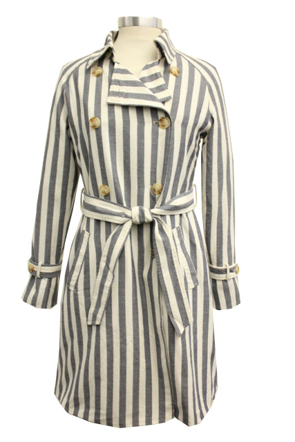 CoffeeShop Striped Trench Coat