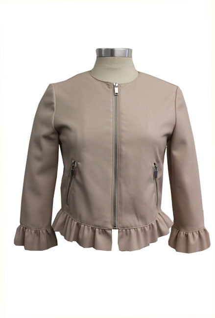 CoffeeShop Ruffled Faux Leather Jacket