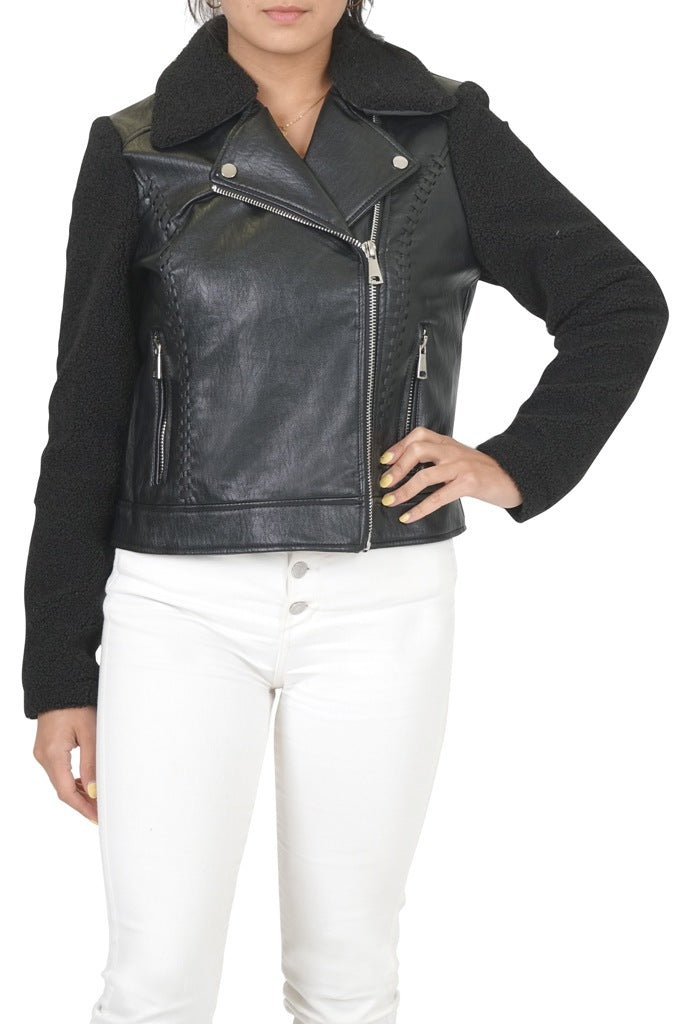 CoffeeShop Faux Leather Moto with Sherpa Sleeves