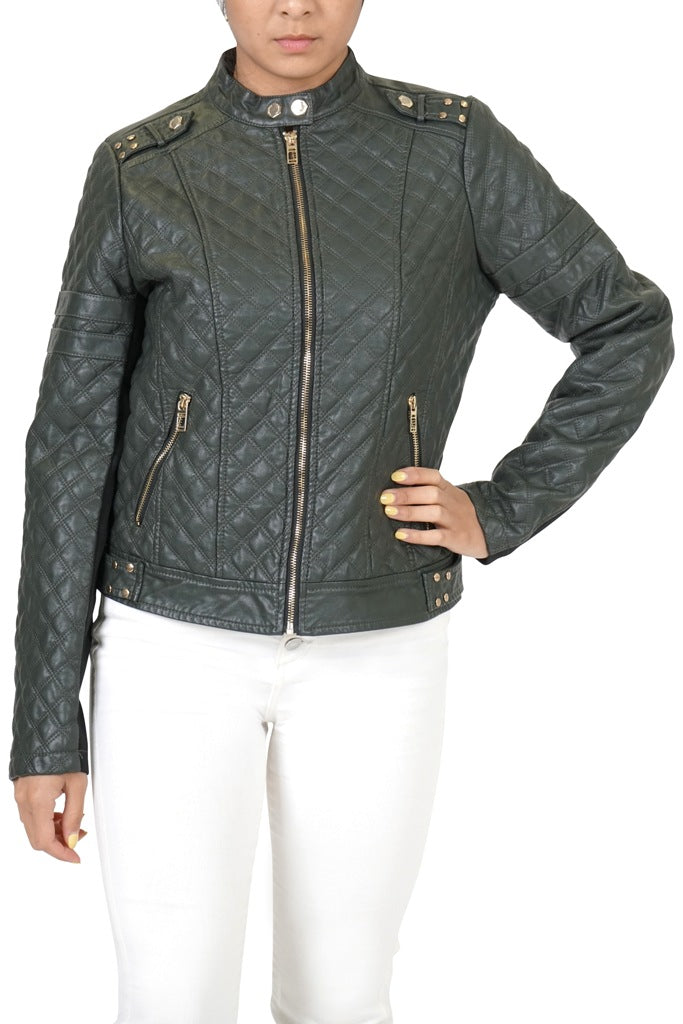 CoffeeShop Faux Leather Quilted Jacket