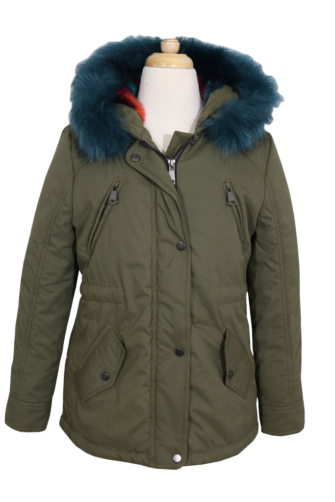 CoffeeShop Girls Puffer with Faux Fur