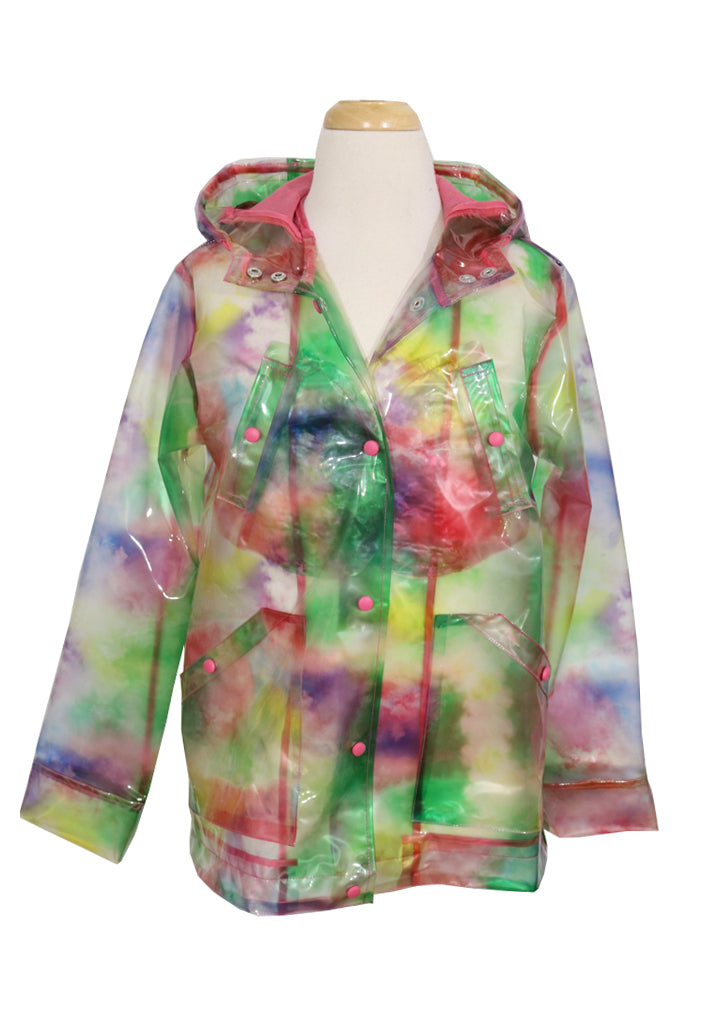 CoffeeShop Girls Tie Dye Rain Coat