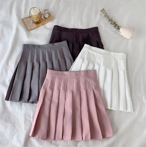 Basic Kawaii Pleated Skirt (Gray)