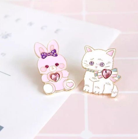 Lovely Kitty & Bunny Enamel Pin