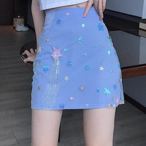 Starry Sky Sequined Mini Skirt