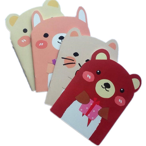 4 pcs set Kawaii Animal A6 mini notebook (random styles)