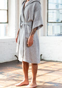 Neck down angled shot of the Grid Linen Bathrobe.