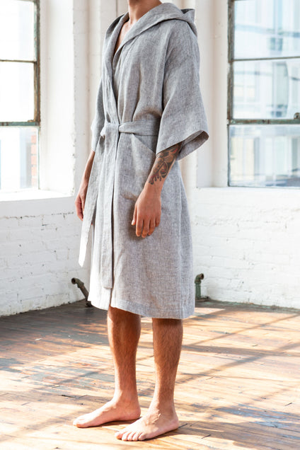 Grid Linen Bathrobe