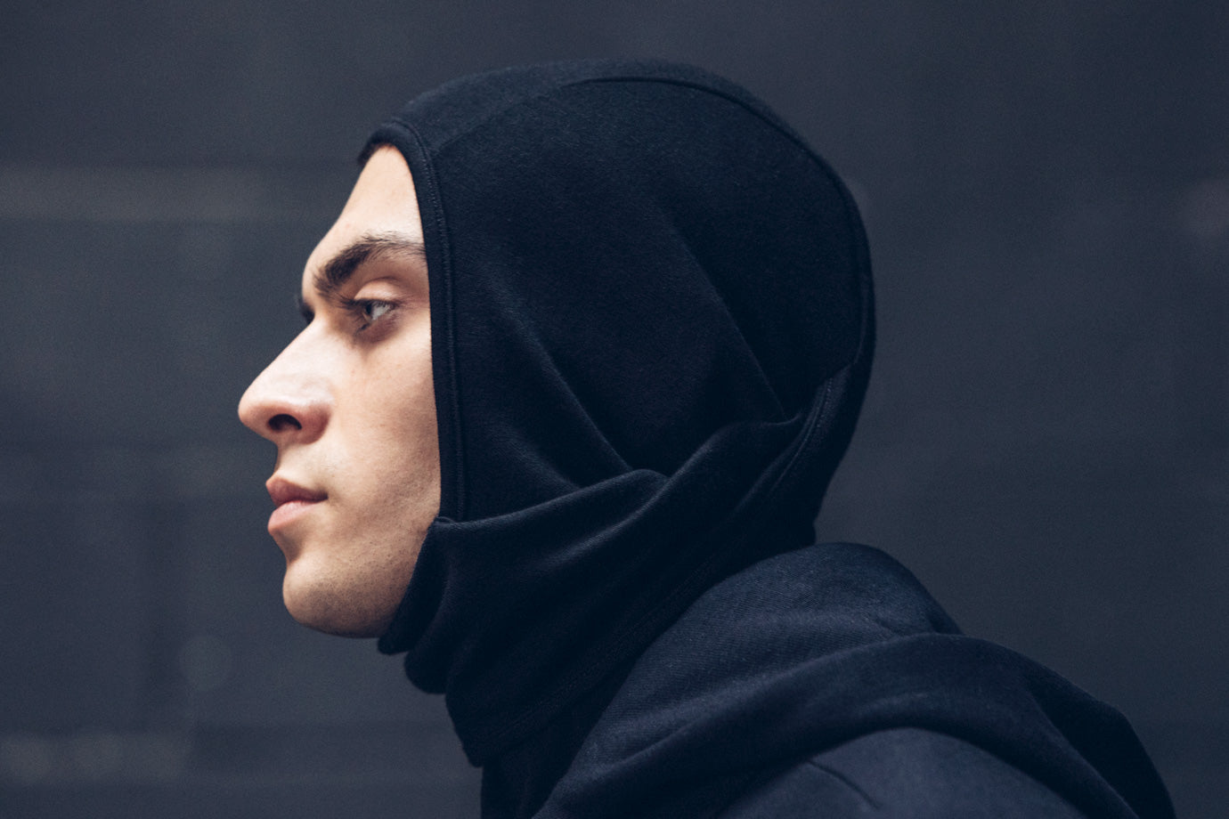Kiril wearing the Doublefine Merino Balaclava with the face down.
