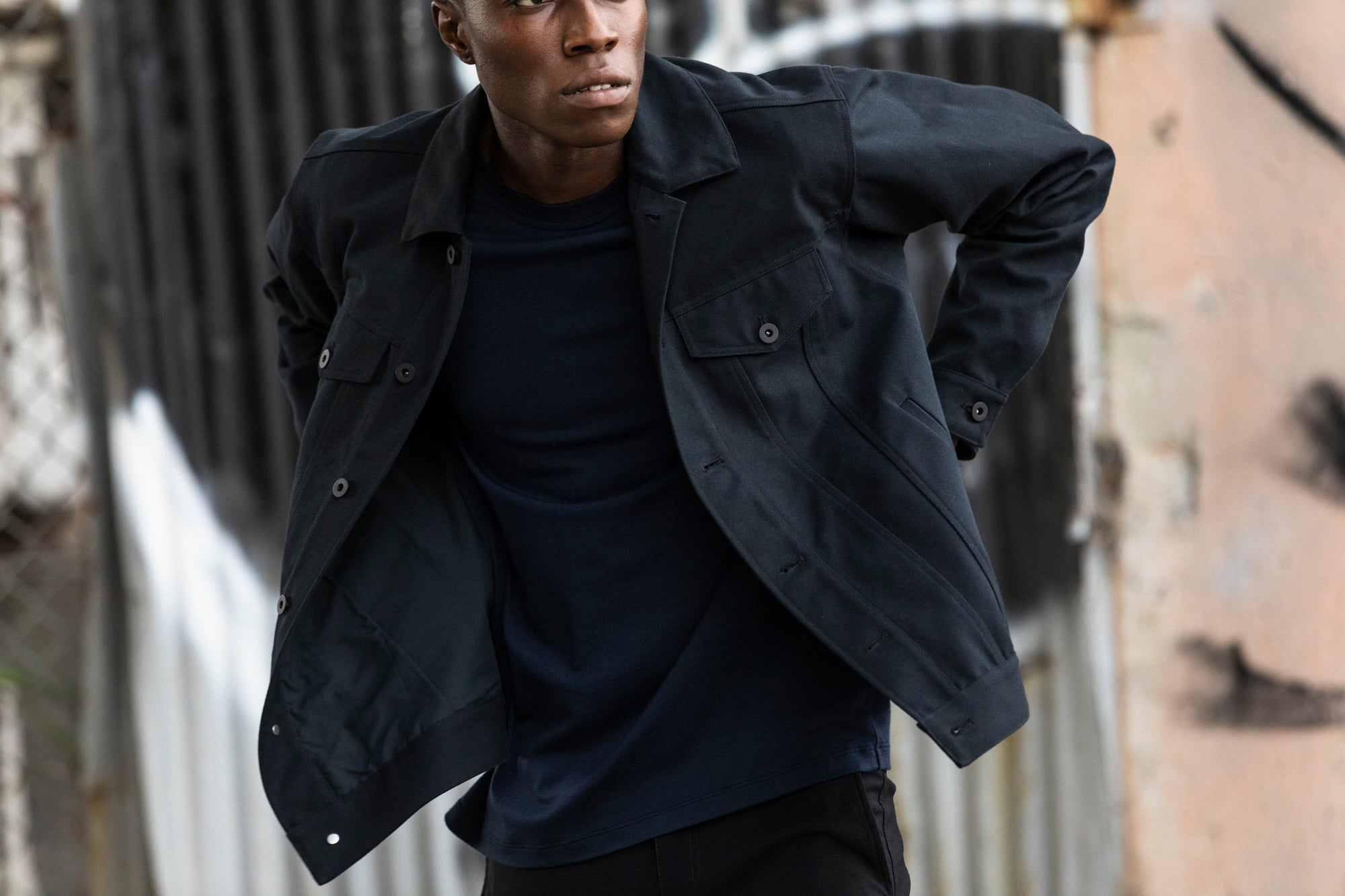 Edem wearing the Experiment 249 - Duckcloth Shank Jacket in Charcoal