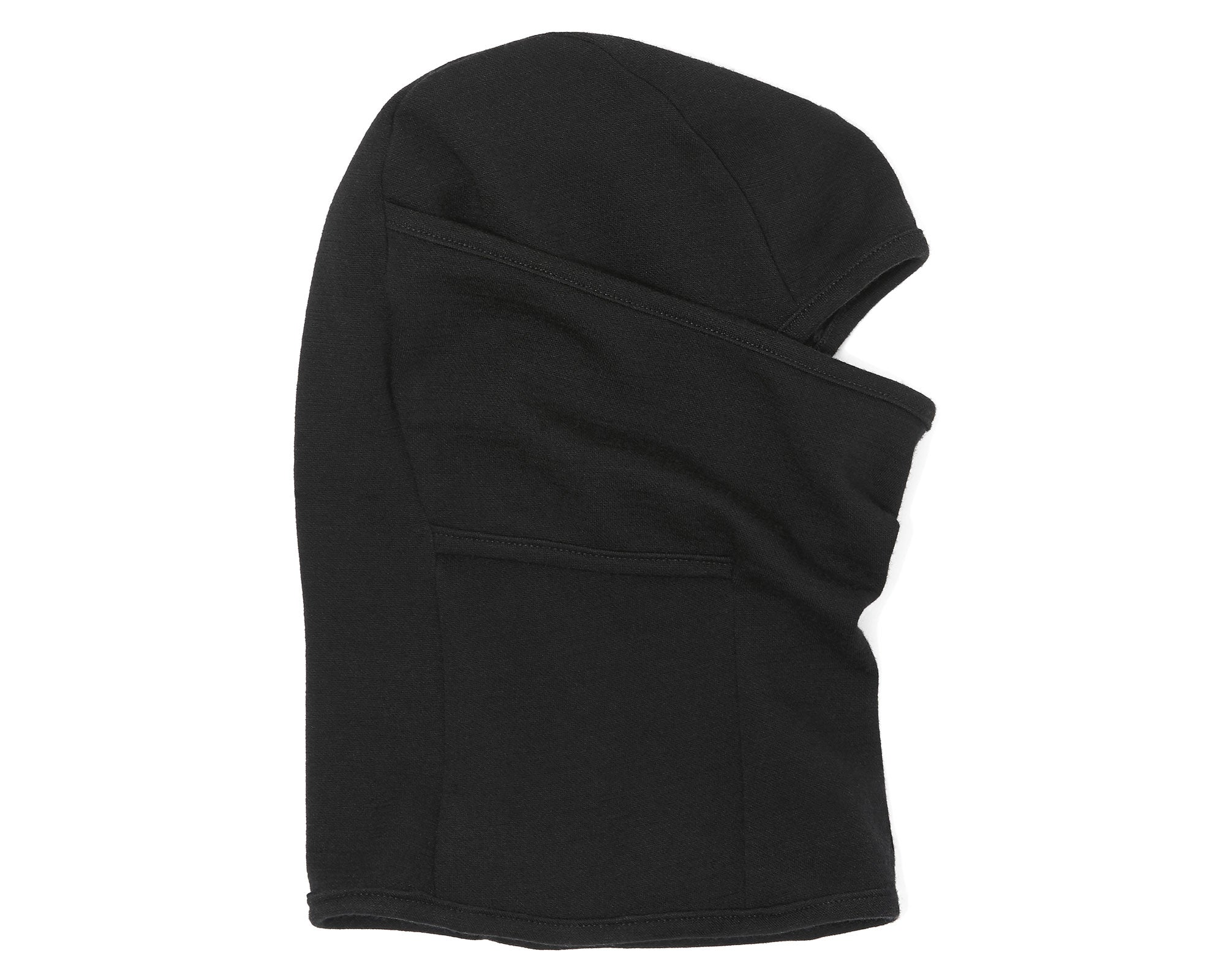 Side flat of the Doublefine Merino Balaclava in Black.
