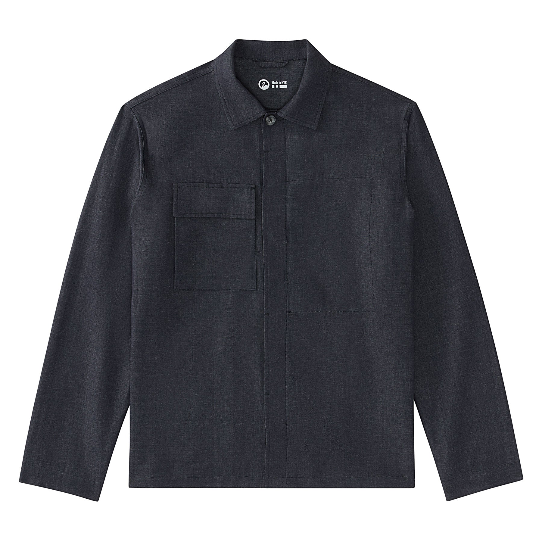 Full flat image of the Experiment 259 - Woollinen Hardshirt in Chambray Gray
