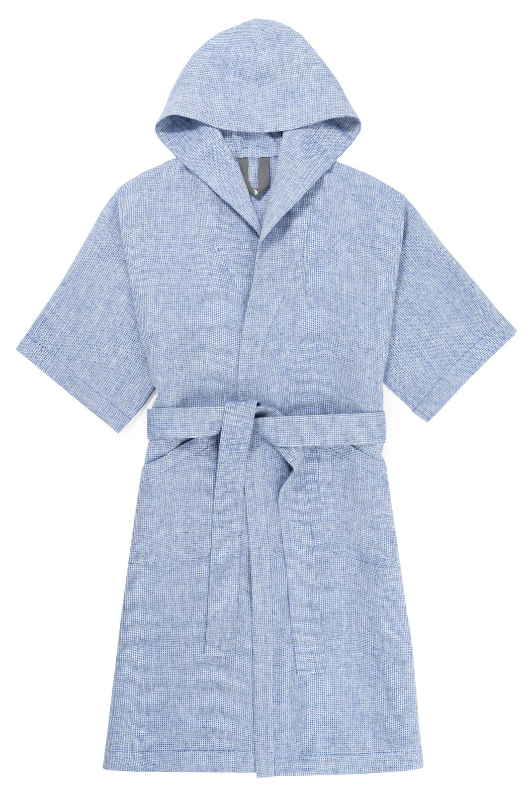 Flat Front image of the Grid Linen Bathrobe.