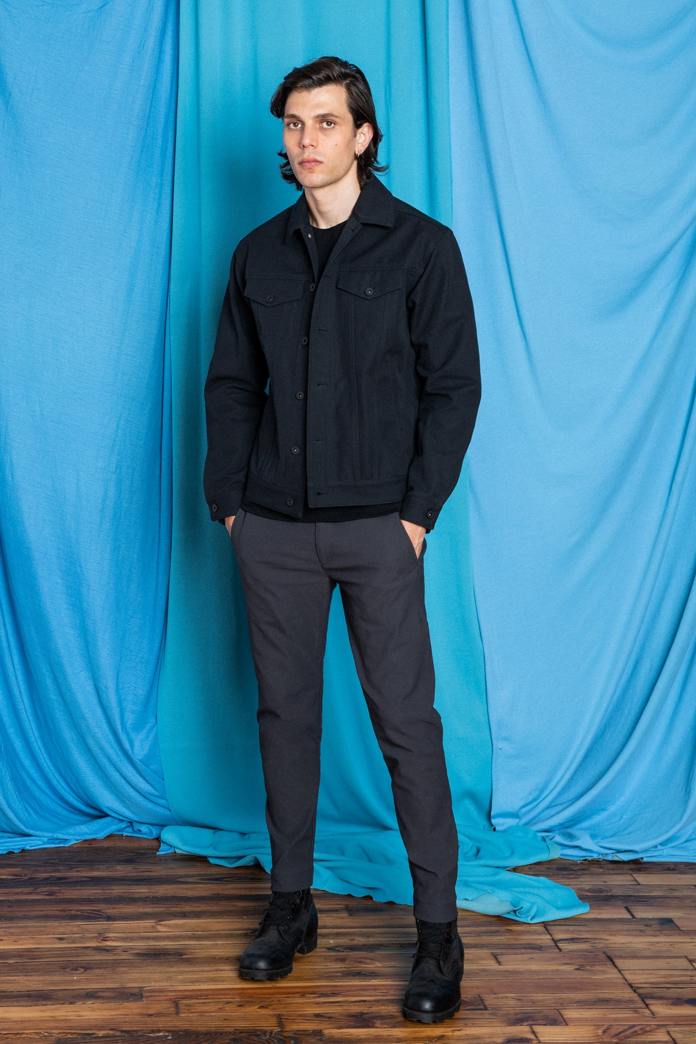 Full fit image of Daniele wearing the Experiment 249 - Duckcloth Shank Jacket in Black