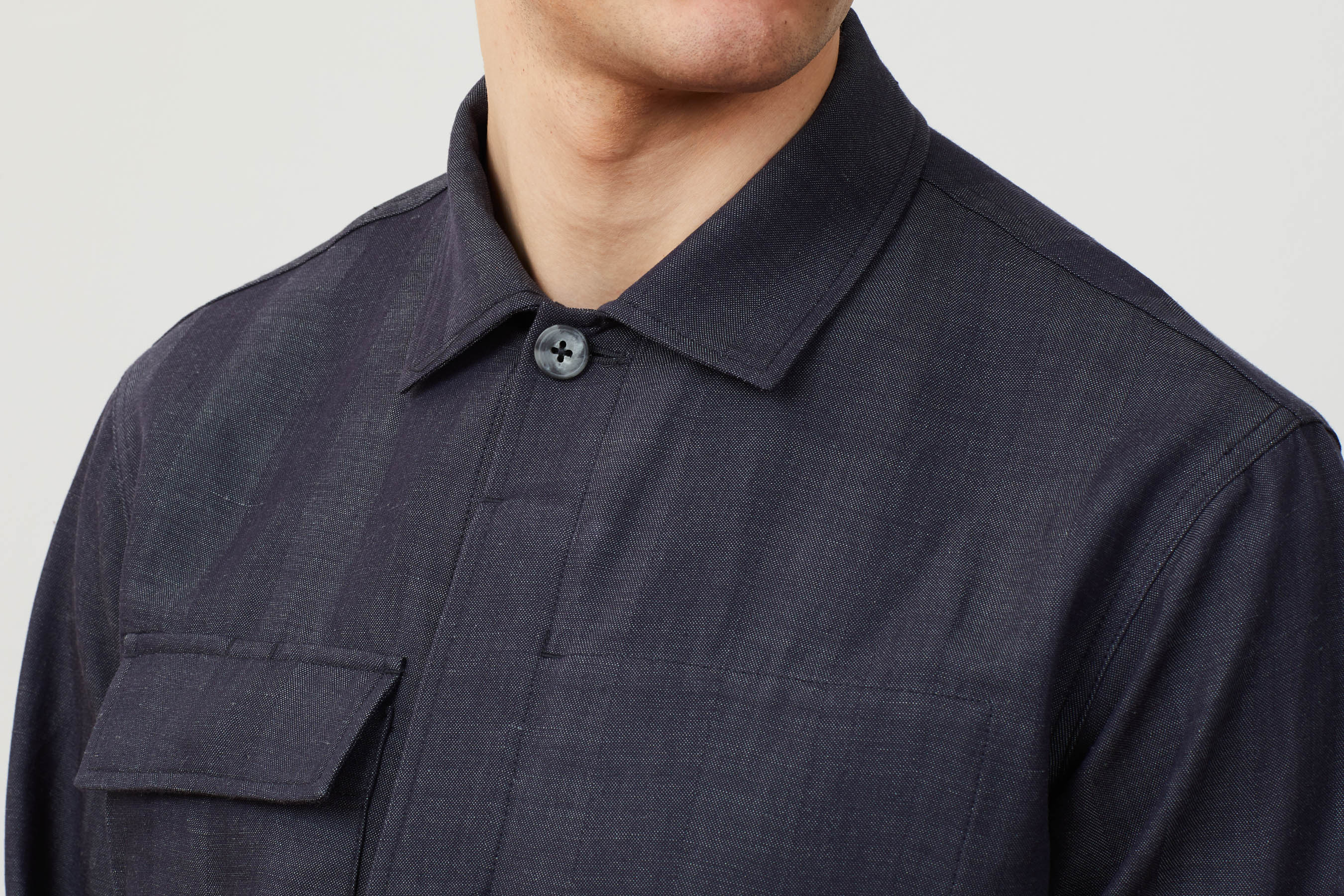 Close up collar detail of the Experiment 259 - Woollinen Hardshirt