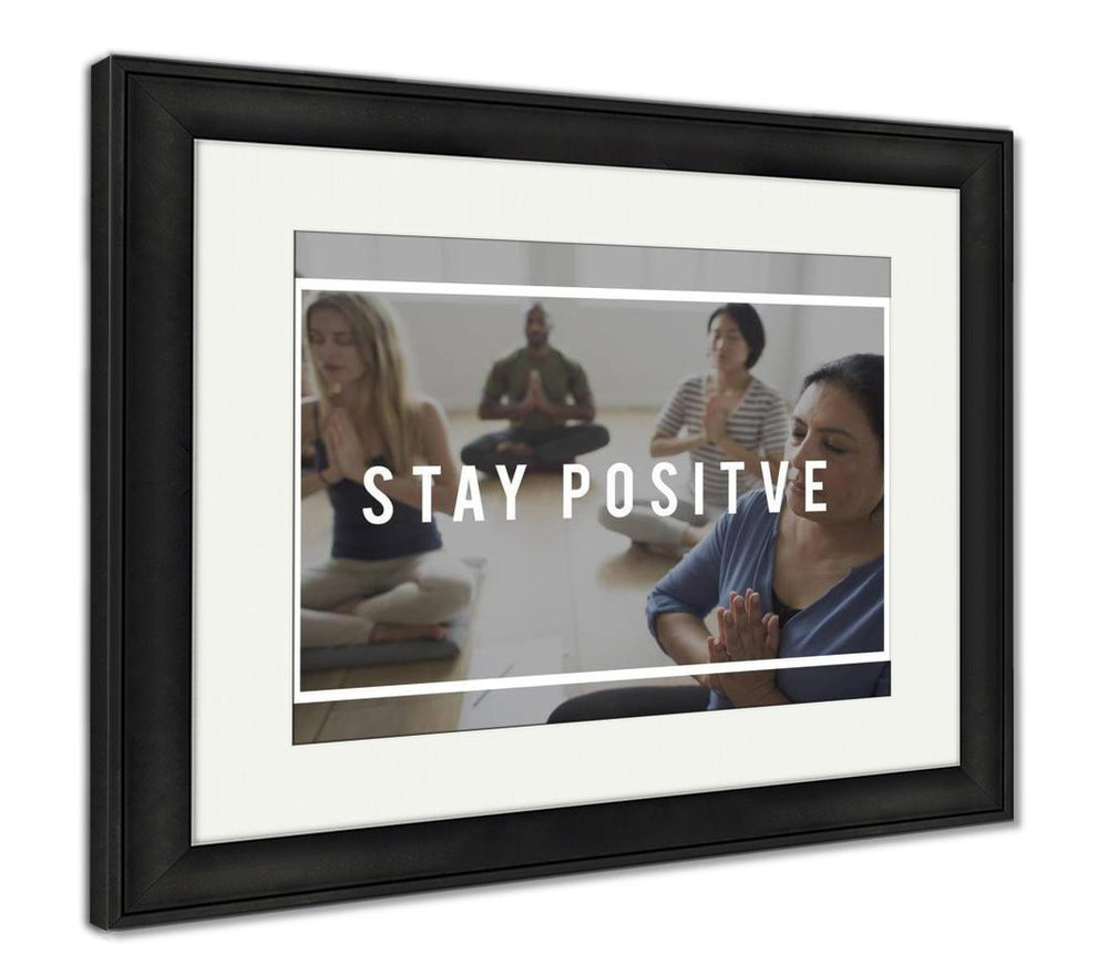 Framed Print, People Having Yoga Class