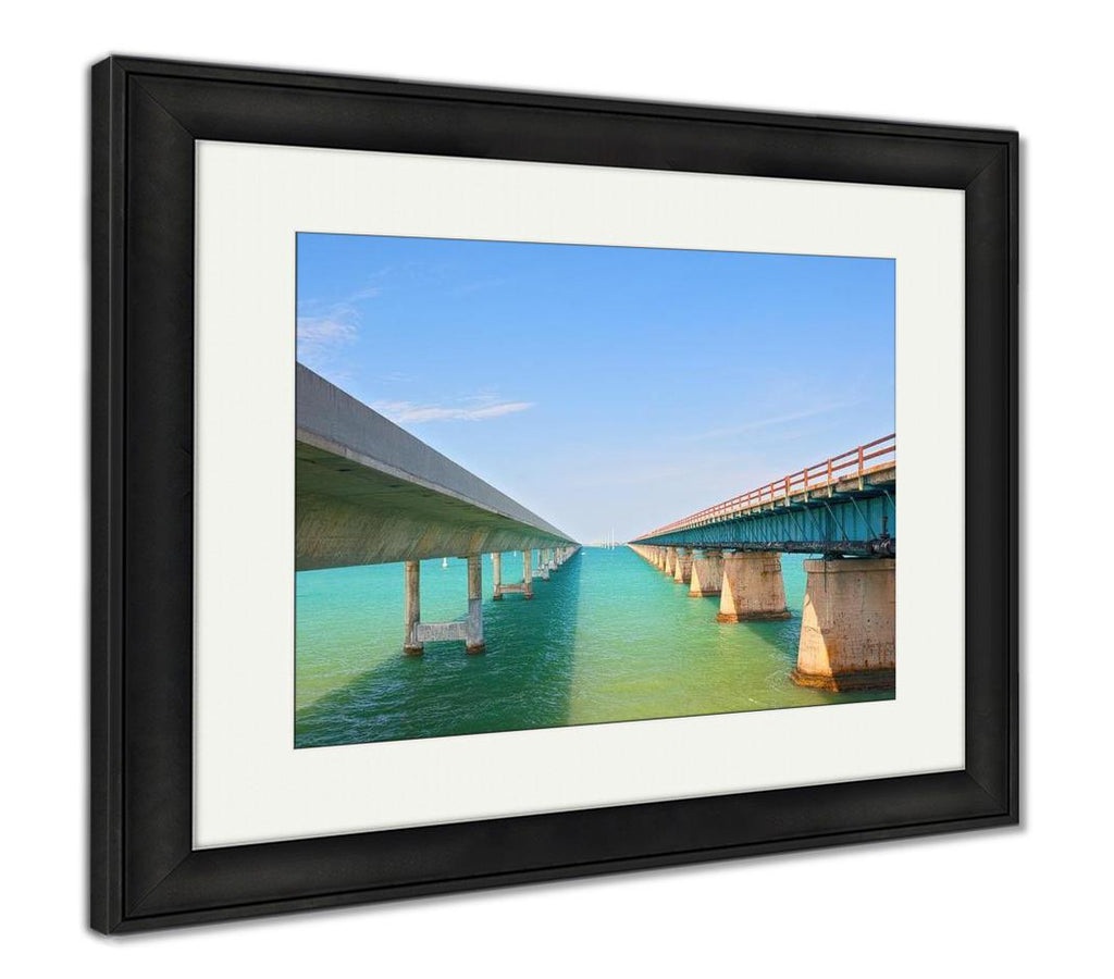 Framed Print, Bridges Going To Infinity Seven Mile Bridge In Key West Florida