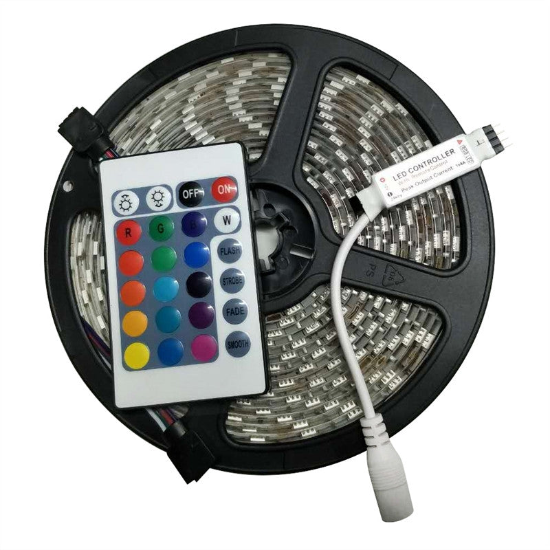 5M Waterproof LED Strip Lights SMD 5050 RGB Light Strip with 24-Key Remote Controller for Party Christmas Decoration