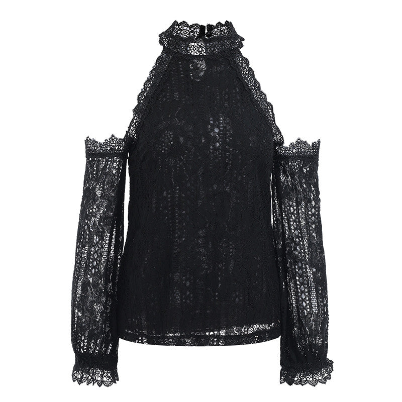 Glamaker Black off shoulder lace blouse shirt Women sexy elastic sleeve autumn blouse top Female winter club party casual blouse