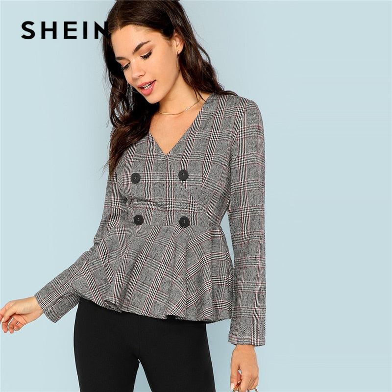 SHEIN Grey Elegant Office Lady Double Button Breasted V-Neck Plaid Slim Fit Blazer 2018 Autumn Highstreet Women Coat Outerwear