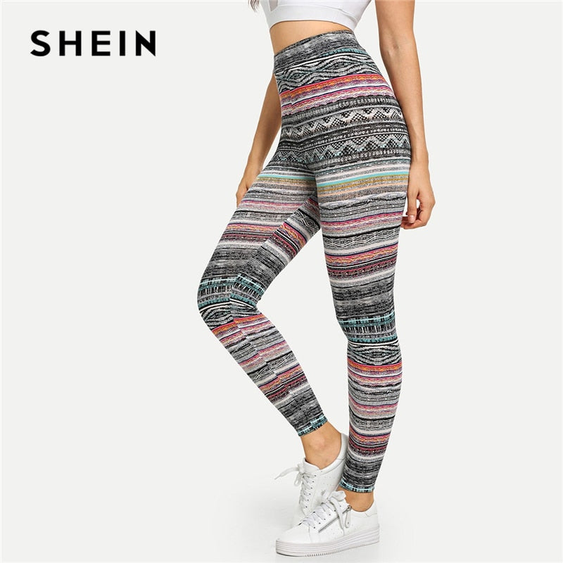 SHEIN Multicolor High Waist Tribal Print Leggings Casual Geometric Striped Pants Women Stretchy Autumn Sexy Sporting Trousers