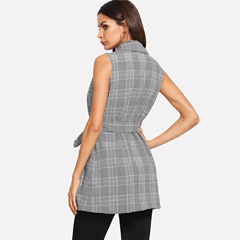 Double Button Gray Belted Plaid Top